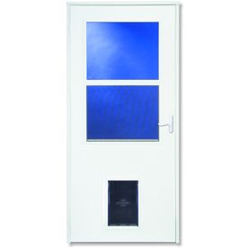 LARSON Pet Door White High View Tempered Glass Wood Core