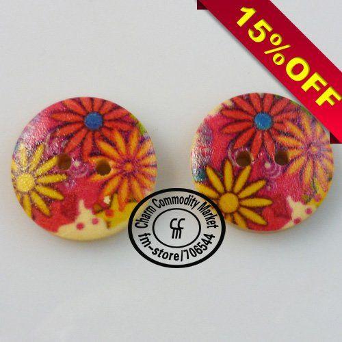 200 шт. 2.0 см деревянные пуговицы цветы конструкции пуговицы