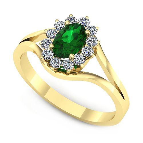 Inelul este format din:  * Piatra principala: 1 x smarald, dimensiune: ~6.00x4.00mm, forma: oval; * Pietre secundare: 12 x diamant, dimensiune: ~1.50mm, greutate totala: ~0.19ct, forma: round