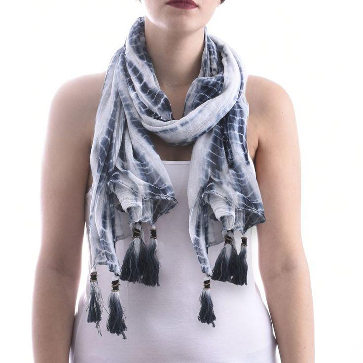 SCARF/PAREO WHITE-BLACK TIE DIE - Scarfs/Sun Dresses