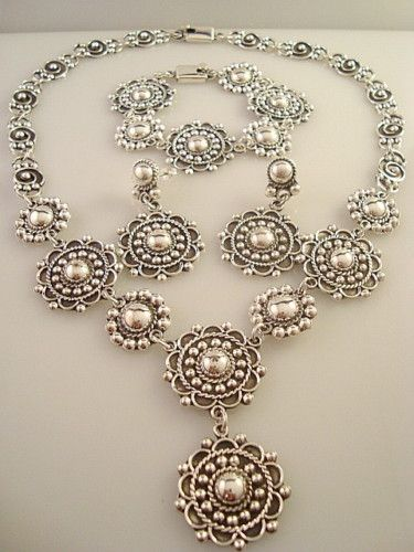 Vintage Design Taxco Mexican Sterling Silver Deco Beaded Bead Bracelet, Necklace and Earrings Mexico | eBay