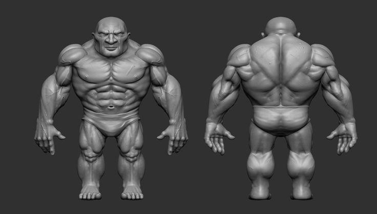 Dwarf Fighter Front/Back naked, Konstantinos Giatilis on ArtStation at https://www.artstation.com/artwork/442198