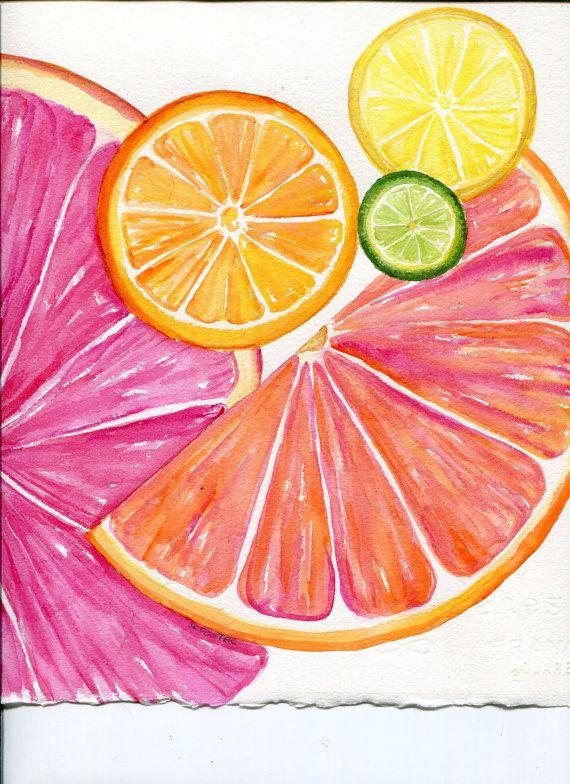 Citrus Watercolor Painting Original 8 X 10 Tutti Frutti Grapefruit Lemon Orange Lime Artwork Modern Kitchen Art Decor