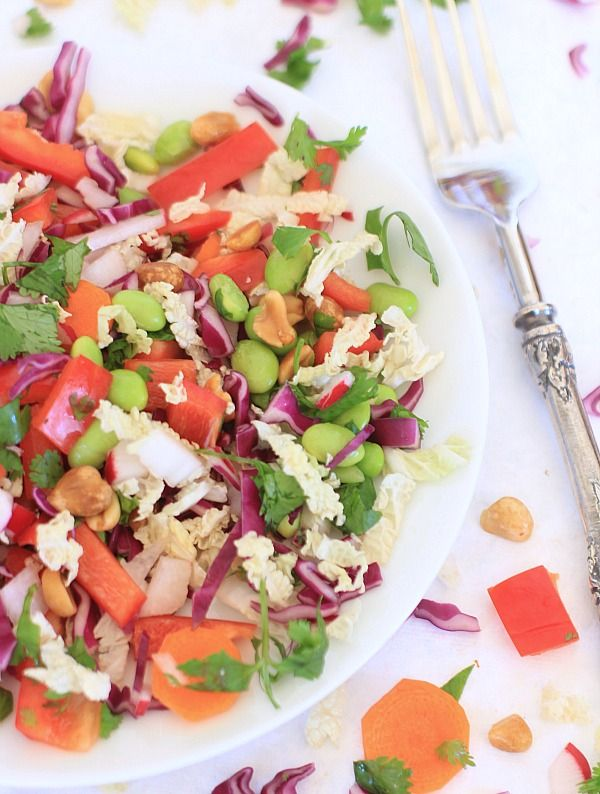 Crunchy Asian Chopped Cabbage Salad with Peanut Dressing // The Spicy RD #vegan