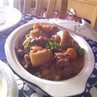 Beef Stew - Slow Cooker.  Really great for a cold night!  I added some mushrooms (during the onion stage) and put some additional red wine into the crock pot before cooking for 6 hours.