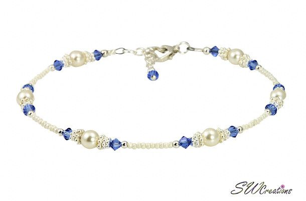 Wedding Anklets - Something Blue Wedding Sapphire Silver Heart Beaded Anklets