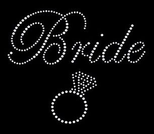 Bride with ring in crystal rhinestones transfer br06 for Rhinestone template material wholesale