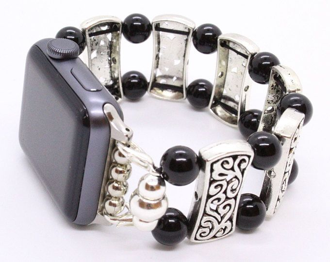 Black Agate Beads - Apple Watch Band 38 Apple Watch Band 42 Womens Apple Band Apple Watch Stretch Apple Band Wearable Tech iWatch Band