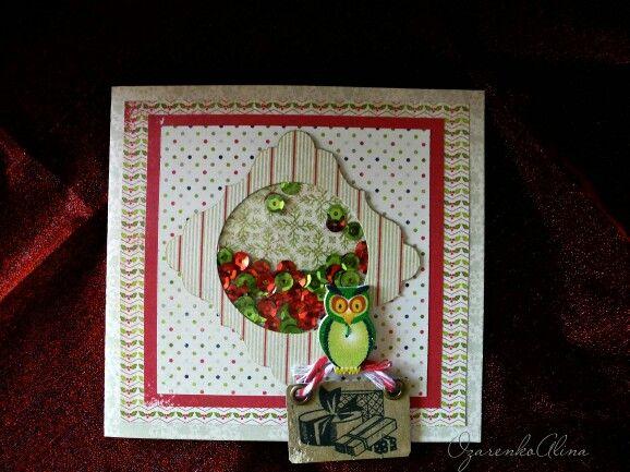 Shaker Christmas card with owl