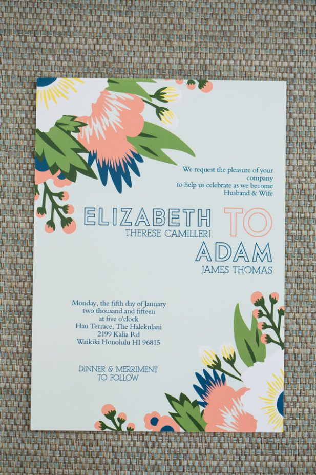 Hawaii wedding invitations (Photo by jeannemarie photography)