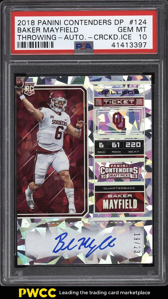 e7b7fa98c 2018 Panini Contenders Cracked Ice Baker Mayfield ROOKIE AUTO  23 PSA 10  (PWCC)  PSA10  sport…