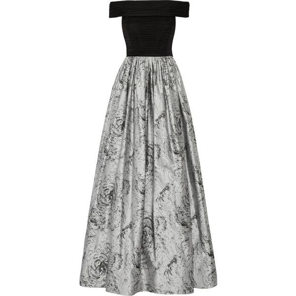 Alice + Olivia Meredith off-the-shoulder ruched silk-chiffon and... (20.620.600 VND) ❤ liked on Polyvore featuring dresses, gowns, grey, grey evening dresses, grey gown, gray gown, gray dress and fitted dresses