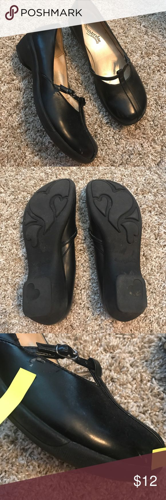 Skechers Black Work Shoes wedge pre-loved Pre-loved Black Skechers with a small wedge.  Size is 7.5.  Please see ALL 8 pics for details and wear.  Shoes are peeling in spots.  Rubber soles.  Make an offer and bundle!!! Skechers Shoes
