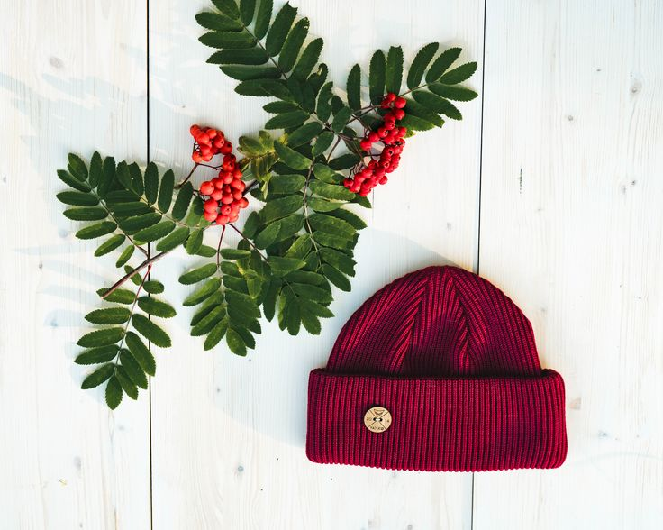 Burgundy Timberjack Beanie made of Organic Merino Wool. Shop here!