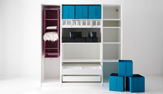 IKEA Fan Favorite: SKUBB series. The boxes and hanging organizers in different sizes mean you can divide and rule your clothes, shoes and accessories so you find everything fast. The boxes also fold flat when not in use so you can store them away easily.