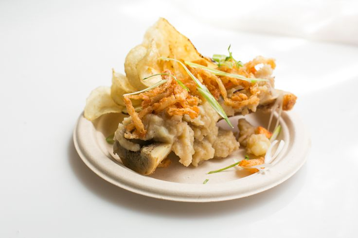 Abbey's Kitchen Stadium: Secret ingrediant Neal's Brother chips - Bone Marrow mash with crispy onions & green onions