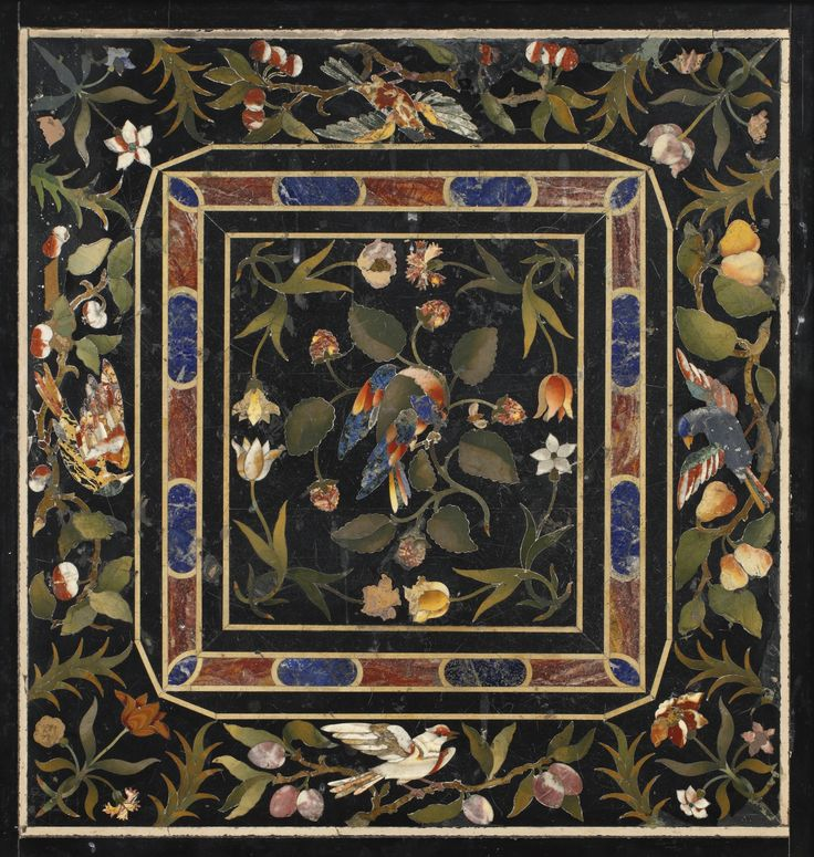 ITALIAN BAROQUE PIETRE DURE PANEL, ATTRIBUTED TO THE OPIFICIO DELLE PIETRE DURE FLORENCE, 17TH CENTURY now in a parcel-gilt and ebonized frame. height with frame 27 3/4 in.; width with frame 26 3/4 in. 70.5 cm; 68 cm