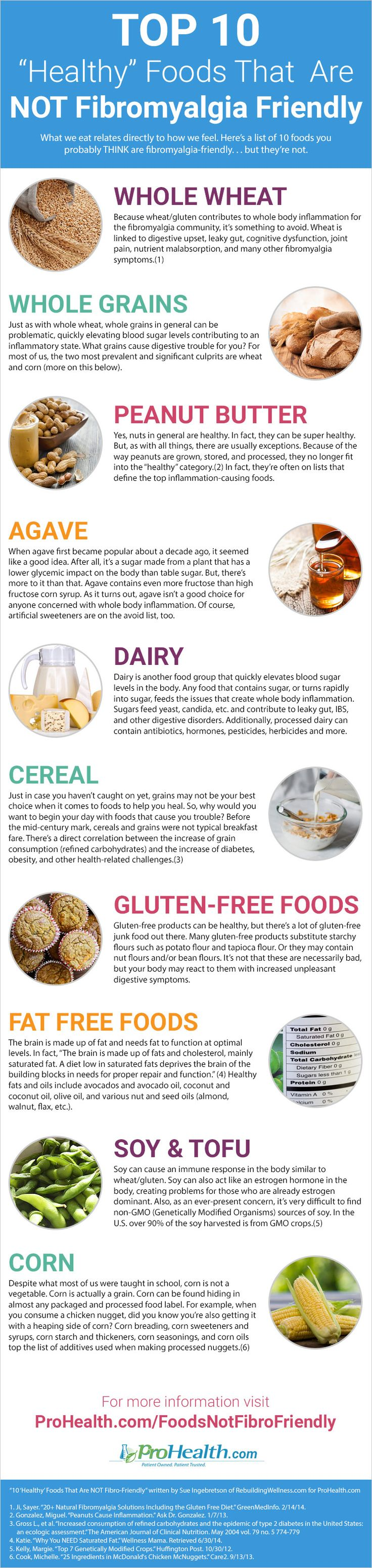 "Infographic: 10 ""Healthy"" Foods That Are NOT Fibromyalgia Friendly #Fibromyalgia"