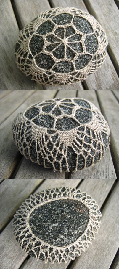 crochet covered stone