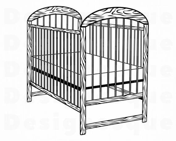 Baby Crib 2 Svg Baby Crib Svg Baby Crib Clipart Baby Crib Etsy Svg Baby Svg Baby Clip Art
