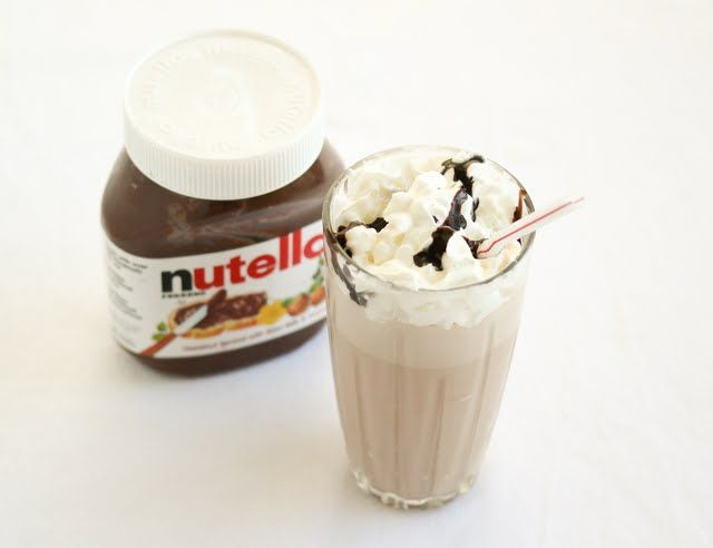 Yummy, very simple nutella milkshakes!  Would probably be yummier with whipped topping.. but so nice and rich with little bits of nutella suspended in the shake!  High quality stuff!