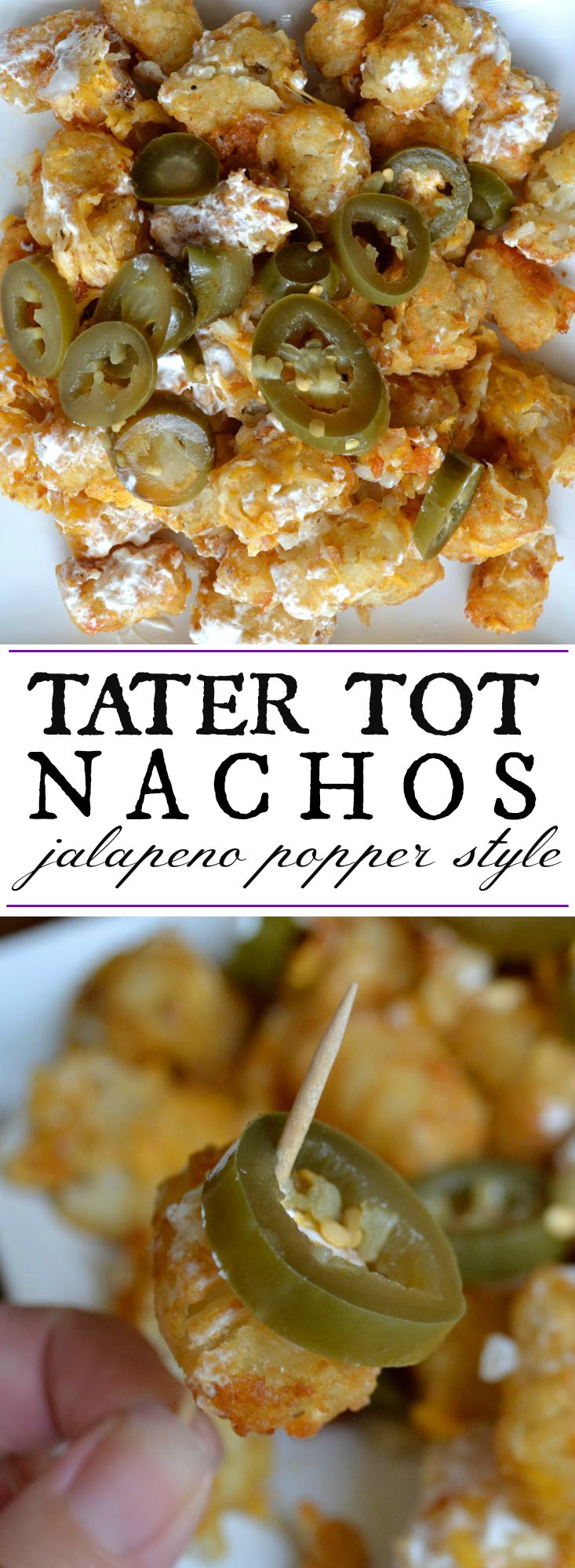 Tater tots meet jalapeno poppers meet nachos. This simple appetizer comes together in minutes and only requires four ingredients! Perfect football food.