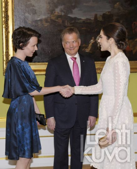 April 5, 2013: In Copenhagen at Moltkes Palace, Queen Margrethe II, Prince Consort Henrik, Crown Prince Frederik and Crown Princess Mary of Denmark attended a dinner hosted by Finnish President Sauli...