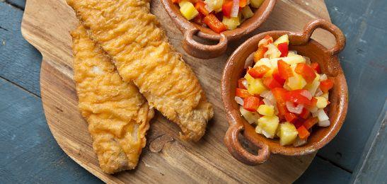 Gebakken vis met zoetzure saus