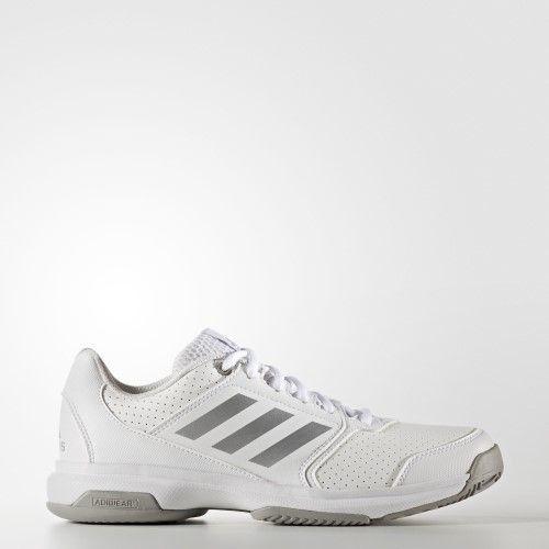 adidas Women's Adizero Attack W Tennis Shoe, White/Metallic Silver/Medium Grey Heather, 5.5 M US