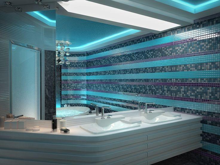 Современный дизайн для большой ванной комнаты в нежных бирюзовых тонах с большой круглой ванной. #большая_ванная_комната #бирюзовая_ванная_комната #современная_ванная_комната