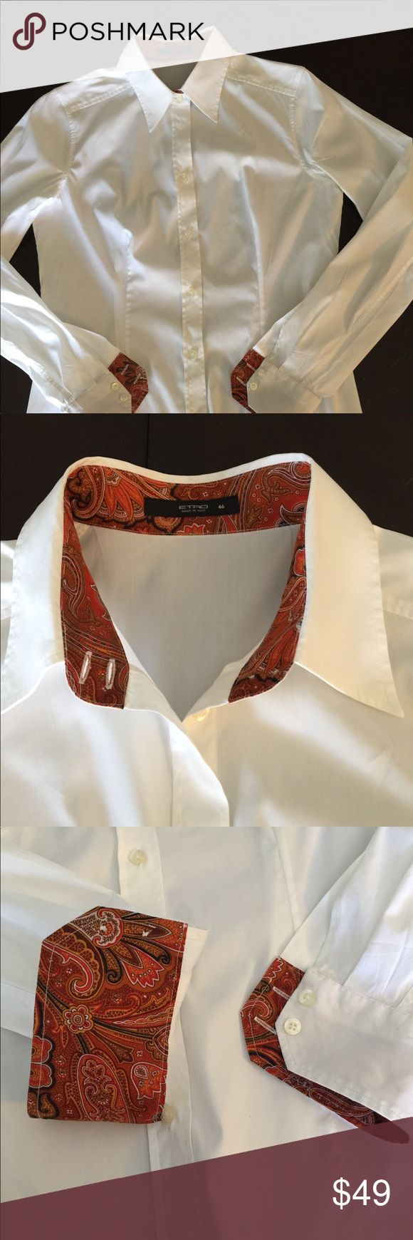 ETRO Italy lady's button down shirts size 46 White special button down shirts size 46 Like brand new  Very good condition Etro Tops Button Down Shirts