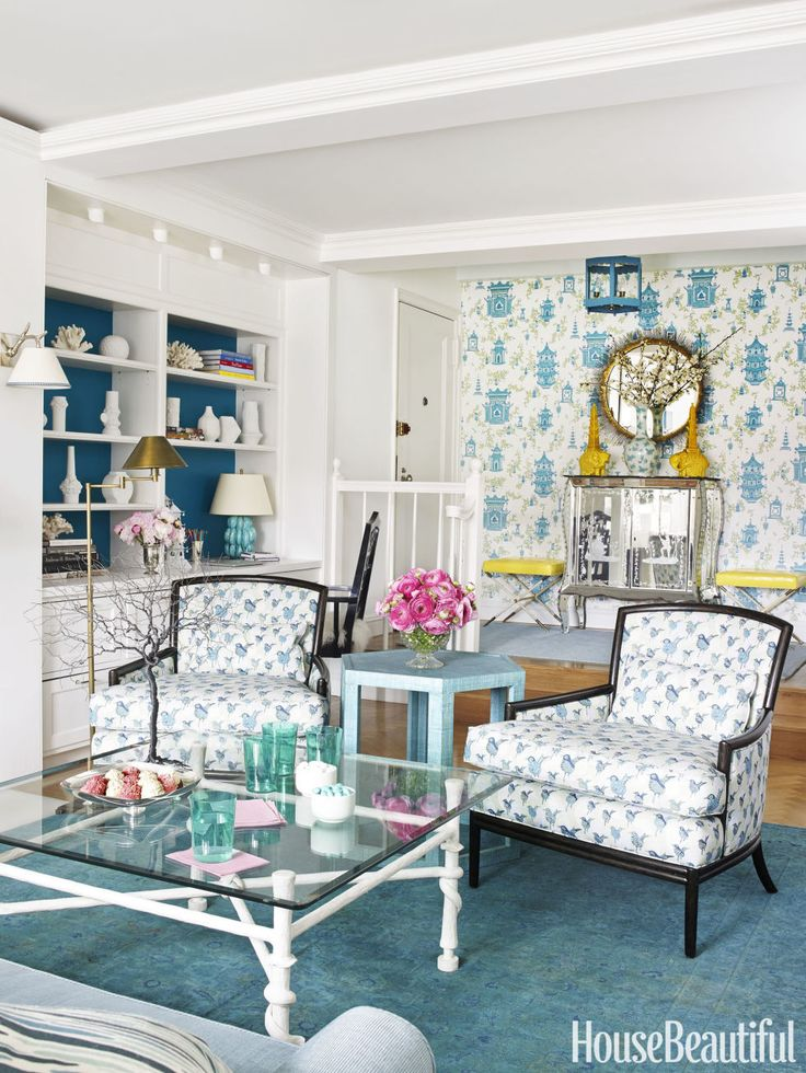 An All Aqua Apartment Energized With Pattern