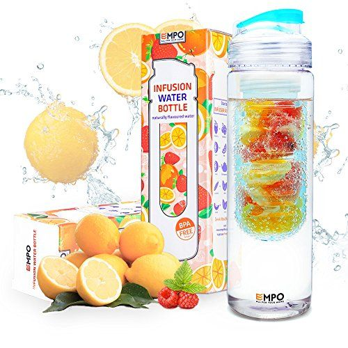 [CHRISTMAS SALE] EMPO Fruit&Tea Infuser Water Bottle (BPA Free) with FREE Recipe eBook - 25 Oz - Flip Top Lid Ideal Gift for Sports Camping Yoga Detox Paleo Diet - Blue