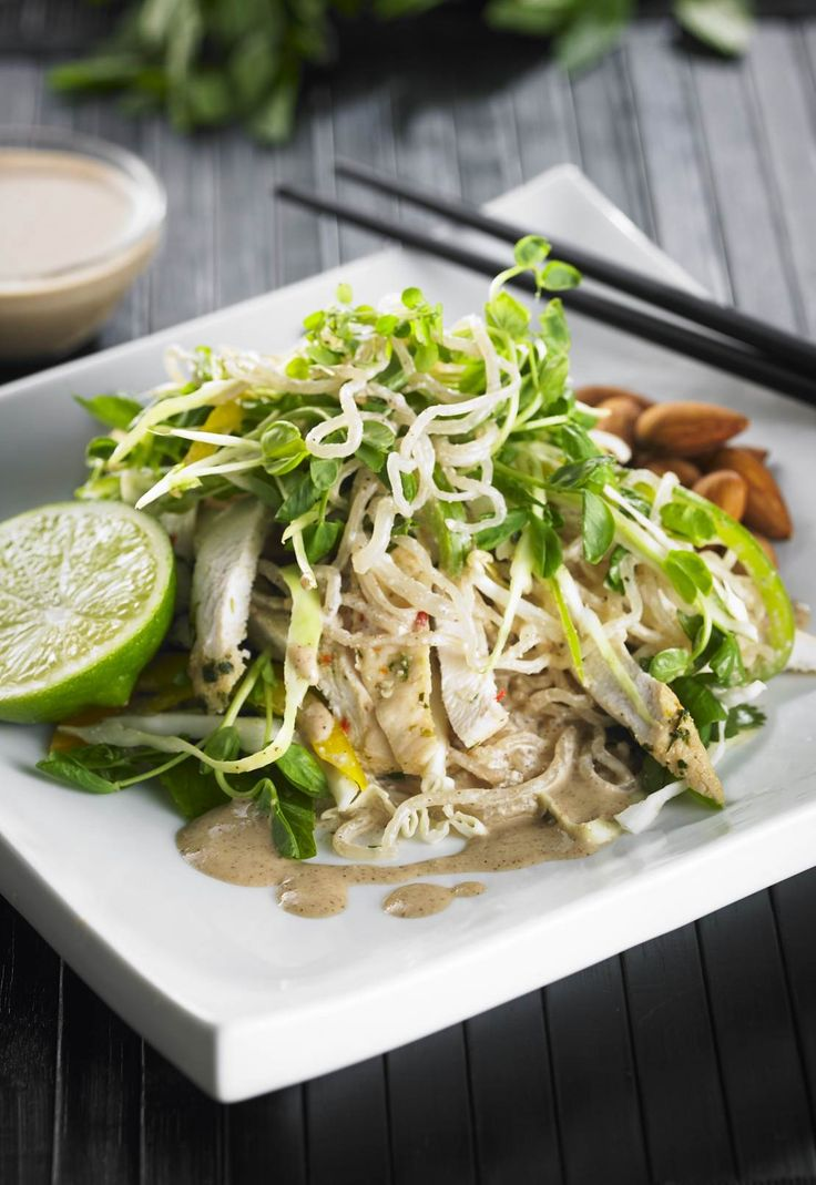 Satay Chicken Salad | Kelp noodles are a mineral dense alternative to pasta. The variety of different colored, plant-based foods in this dish brings a range of antioxidants. Studies show that variety is vital to longevity! | www.drlibby.com