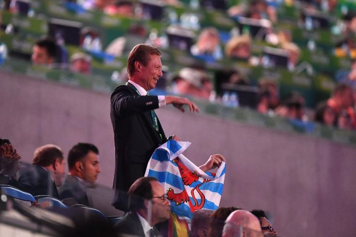 King Philippe and Queen Mathilde of Belgium, Crown Princess Mary and Prince Frederik of Denmark, Britain's Princess Anne, King Willem-Alexander of the Netherlands, Prince Albert II of Monaco and Grand Duke Henri of Lexumbourg attend the opening ceremony of the Rio 2016 Olympic Games at the Maracana stadium on August 5, 2016 in Rio de Janeiro, Brazil.