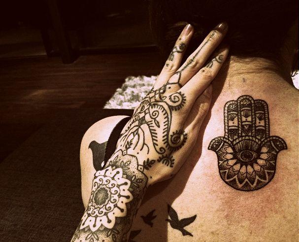 tattoos inked tattoo ink bird tattoo neck tattoo hand tattoo hamsa hamsa tattoo mandala tattoo hannah snowdon hannah pixie snowdon