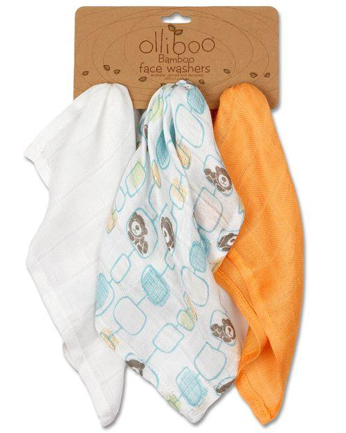 Olliboo Organic Muslin Washers, these Premium organic muslin face washers made from soft lightweight bamboo.