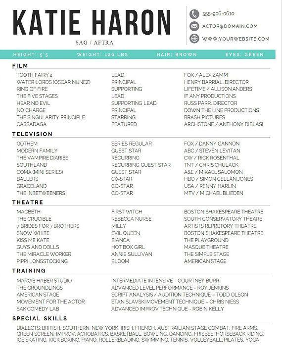 Actor Resume Template 8 X 10 Acting Resume Instant Digital