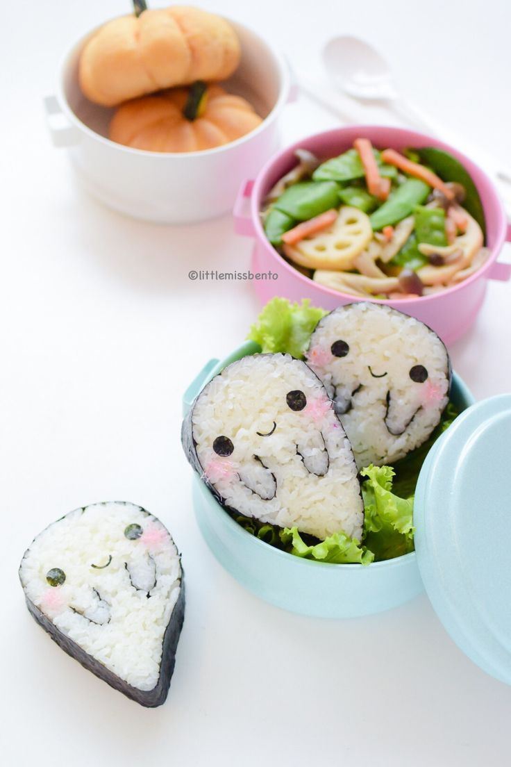 Boo Ghost Sushi Bento - I don't care how cute they are, I would just eat them, with no mercy Más