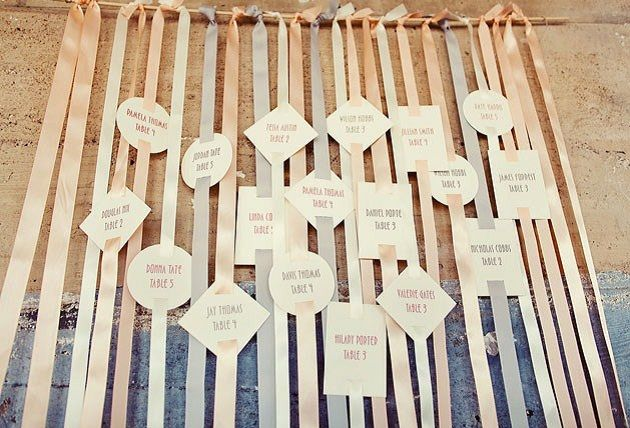 I love ribbon..cute idea for escort card or time line