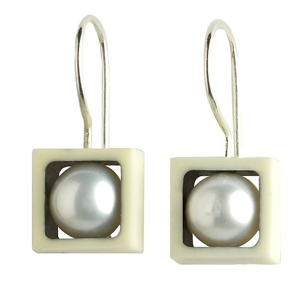 Juma Squares with Pearls by Victoria Varga: Silver & Resin Earrings available at www.artfulhome.com