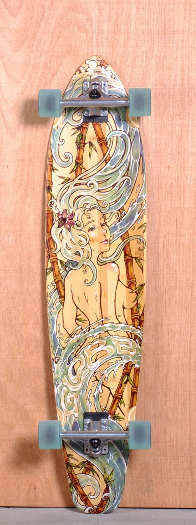 """The Globe Kaguya Longboard Complete is designed for Cruising and Carving. Ships fully assembled and ready to skate! Function: Cruising, Carving Features: Concave, Kick Tail Material: 5 Ply Maple, Bamboo Top and Bottom Sheets Length: 42.75"""" Width: 9.5"""" Wheelbase: 30.75"""" Thickness: 1/2"""" Hole Pattern: New School Grip: Clear i have this"""