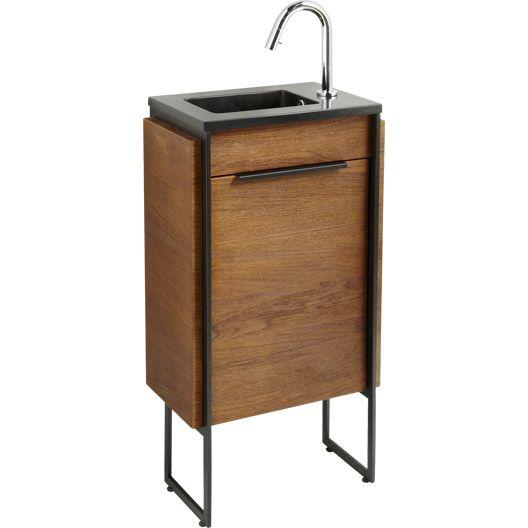 Meuble lave-mains avec miroir Havane placage teck