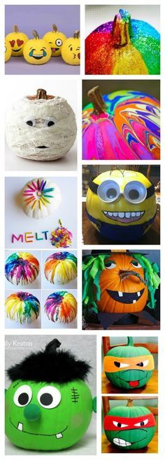 25+ no-carve pumpkin decorating ideas for kids.  Tons of ideas I've never seen before! I love the melted crayon one!