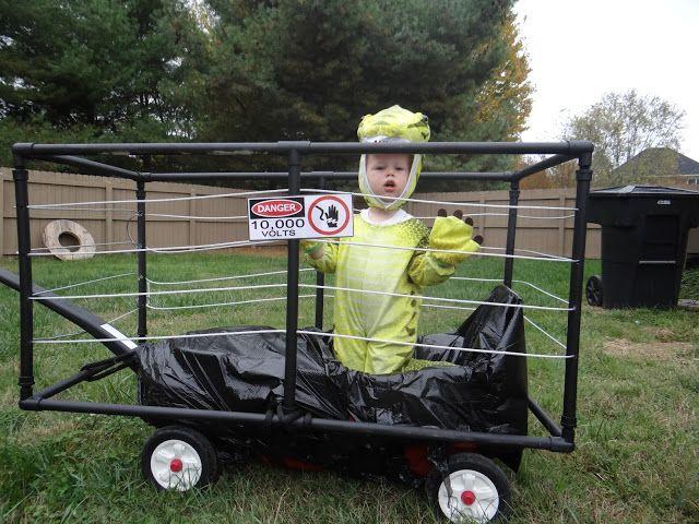 jurassic park halloween, DIY dinosaur, electric fence wagon, family costume, toddler, boys