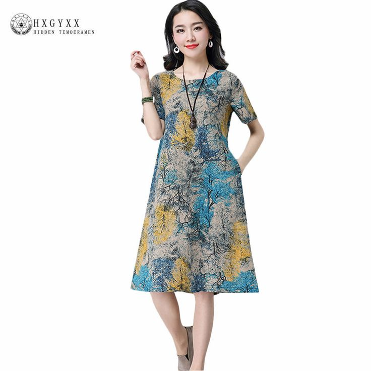 Cheap linen dress, Buy Quality cotton linen dress directly from China women sexy dress Suppliers: 2017 Summer Woman Sexy Dress Casual Loose Plus Size O-neck Short Sleeved Printing High-end Party Robe Cotton linen Dresses AC3