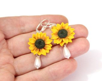 Yellow Sunflower and Pearls Bracelet Sunflower by NikushJewelryArt