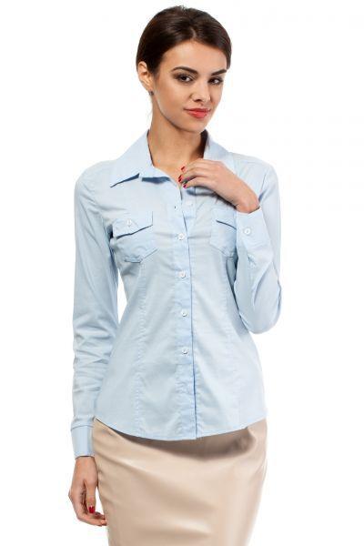 Błękitna koszula damska o klasycznym fasonie