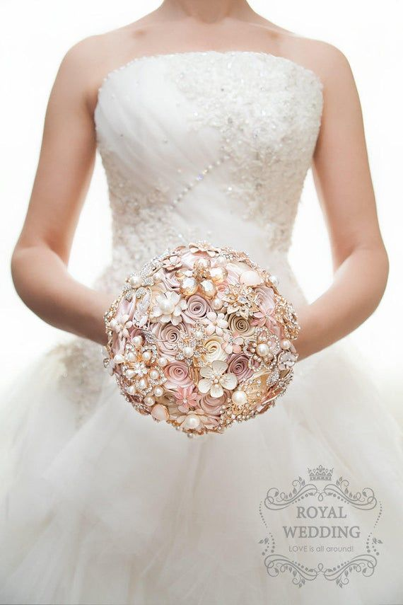 Cascade Fabric Brooch Bouquet Pink Ivory Brides Rose Gold Wedding