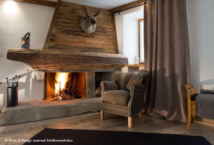 || Arte Rovere Antico - Photo by Duilio Beltramone for Sgsm.it || Casa Verde - La Thuile - Wood Interior Design - Fireplace